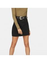 Euro Hot Sale Black Denim A-Line Skirt