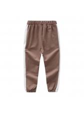 Casual Contrast Color Elastic Long Pants