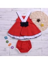 Contrast Color 2 Pieces Girls Dresses