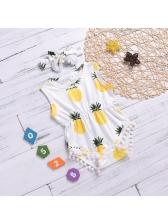 Pineapple Printing Crew Neck Baby Bodysuits