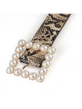 One-Buckle Faux Pearl Snake Print Women Belt