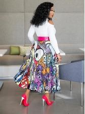 Euro High Waisted Printed Pleated Maxi Skirt