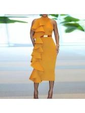 Euro Stand Neck Ruffles Wholesale Maxi Dresses