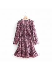 Vintage V Neck Elastic Floral Dresses