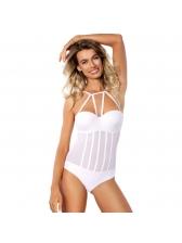 Cross Belt Backless Gauze Solid Swimsuit
