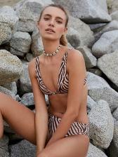 Sexy Deep V Neck Leopard Print Straps Bikini Sets