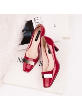 Trendy Thick Heel Patent Leather OL Pumps