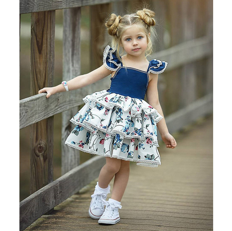 Floral Contrast Color Tiered Girls Dresses