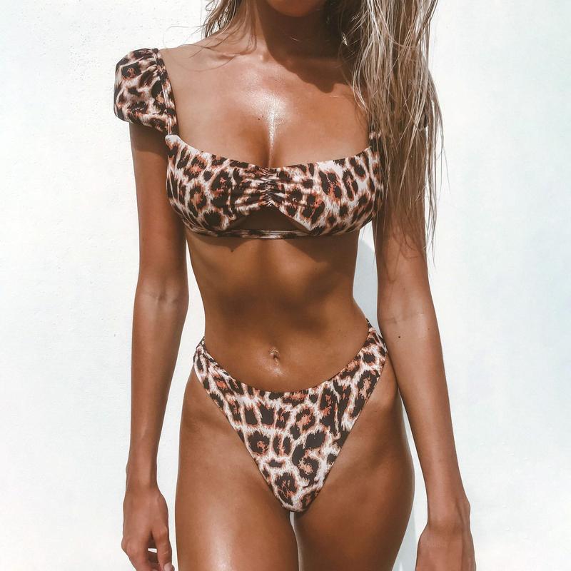 Low-Cut Hollow Out Leopard Print Bikini Sets