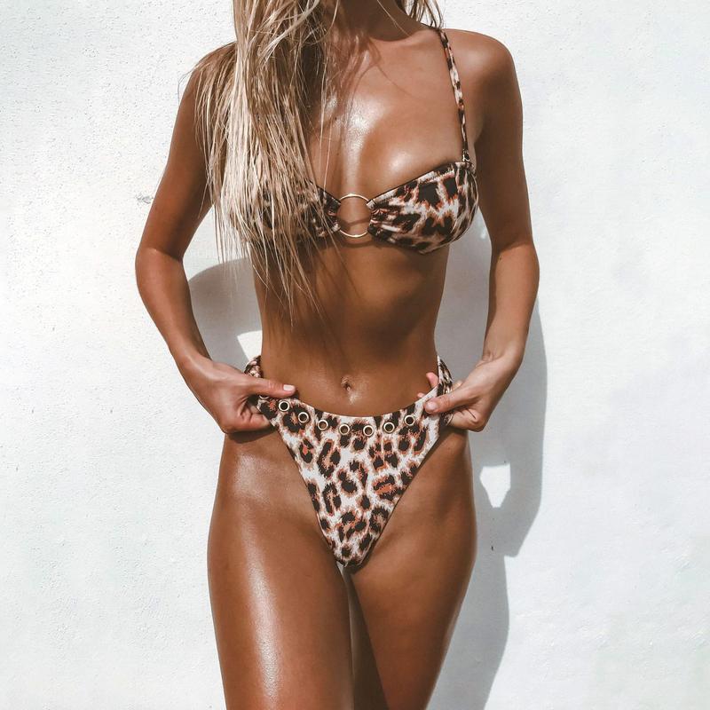 Sexy Round Ring Patchwork Leopard Print Bikinis