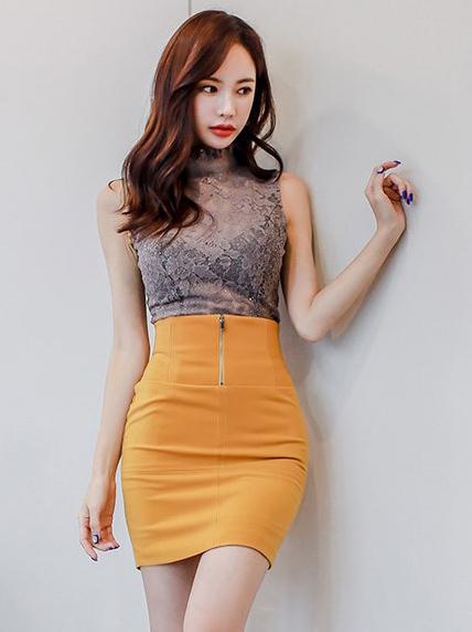 Korean Design Lace Zipper Stand Neck Women Outfits