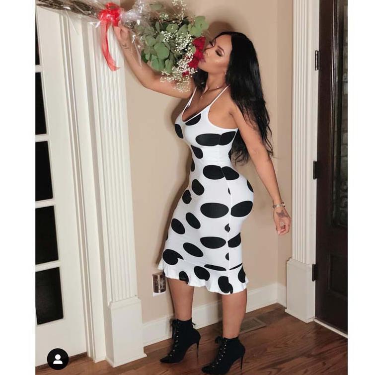 Sexy Dot White Sleeveless Dresses
