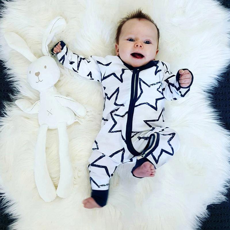 Star Printed Long Sleeve Casual Baby Sleepsuits