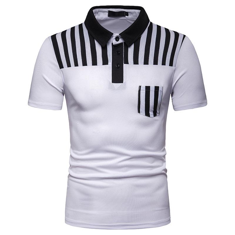 Turndown Neck Striped Polo Shirts