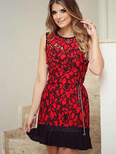 Lace Patchwork Sleeveless Dress Pattern