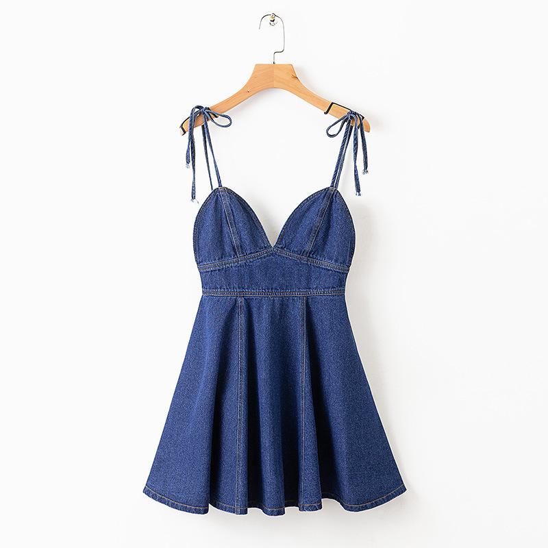 Deep V Neck Straps Denim Dress