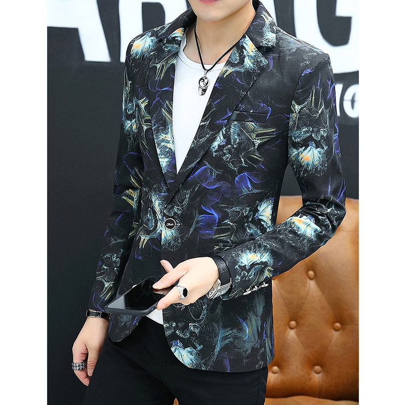 Stylish Lapel Single-Breasted Fitted Men Blazer