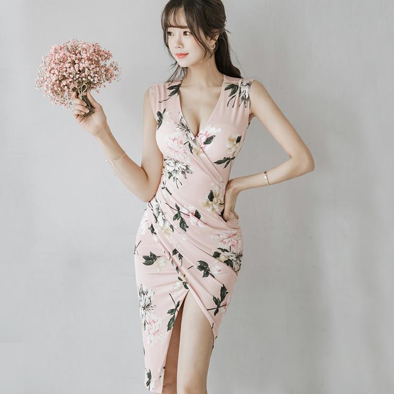 Floral V Neck Irregular Blush Dress