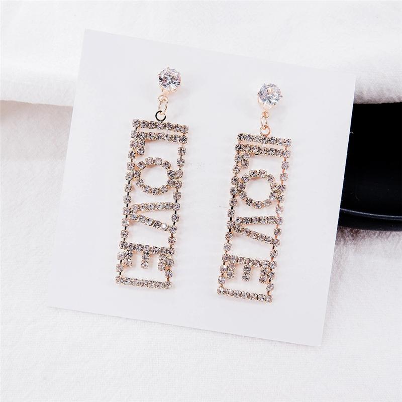 Korean Letter Design Diamond Earrings