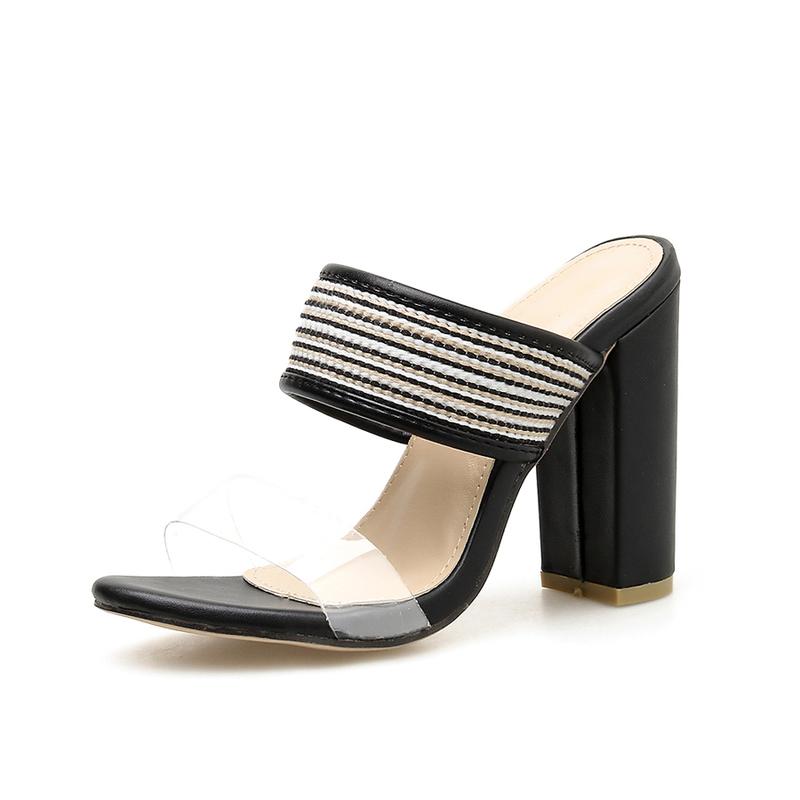 Euro PVC Black Chunky Heel Slippers For Women