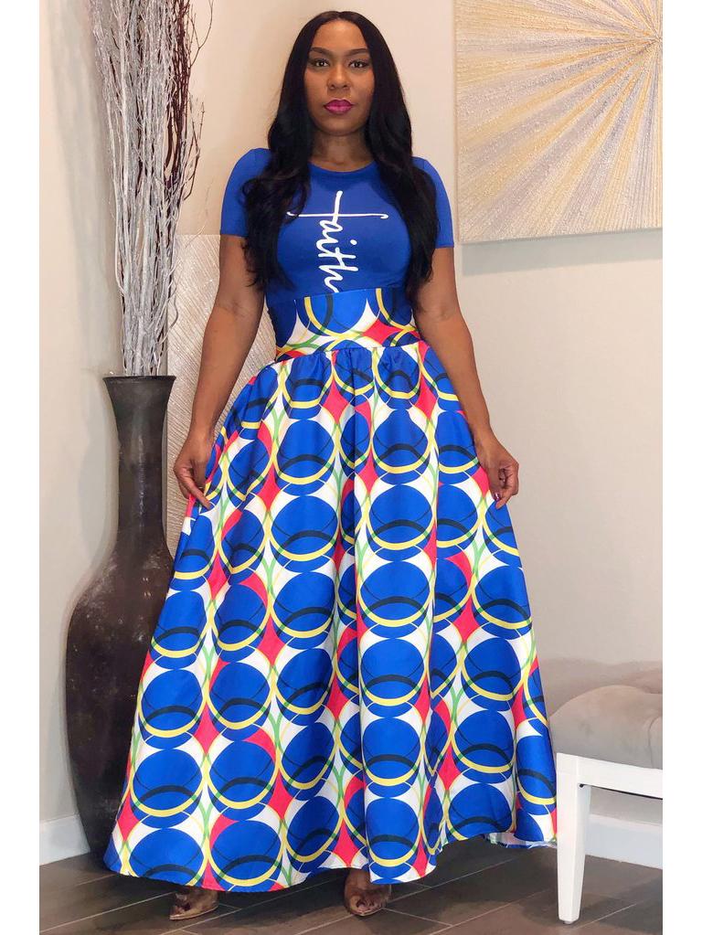 Fashion Printed High Waisted Maxi Skirt