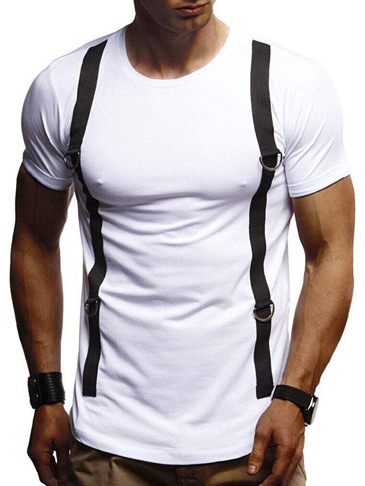 Fashion Belt-Like Print Tee Shirts For Mens