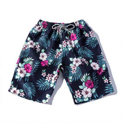 Mens Floral Palm Leaves Print Short Pants
