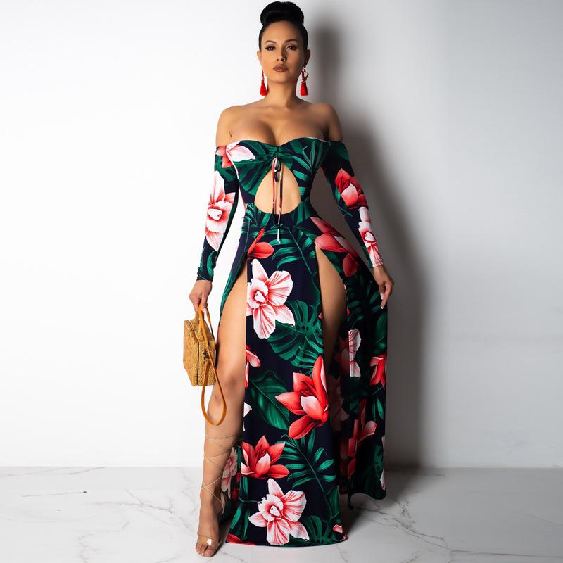 Boat Neck Backless Flower Split Maxi Dresses