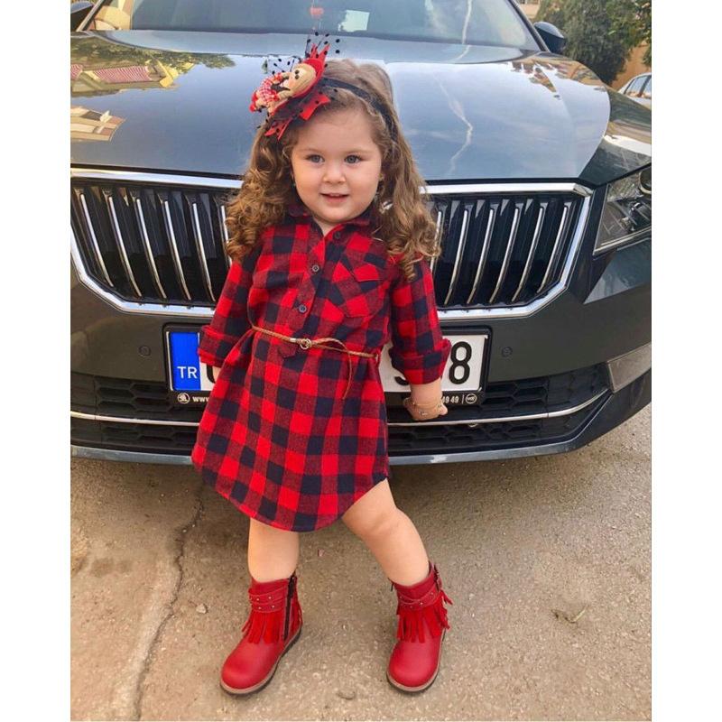 Turndown Neck Pocket Plaid Girl Dress With Belt