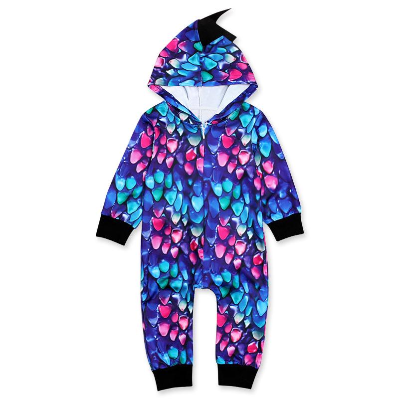 Dinosaur Shape Printed Hooded Baby Sleepsuits