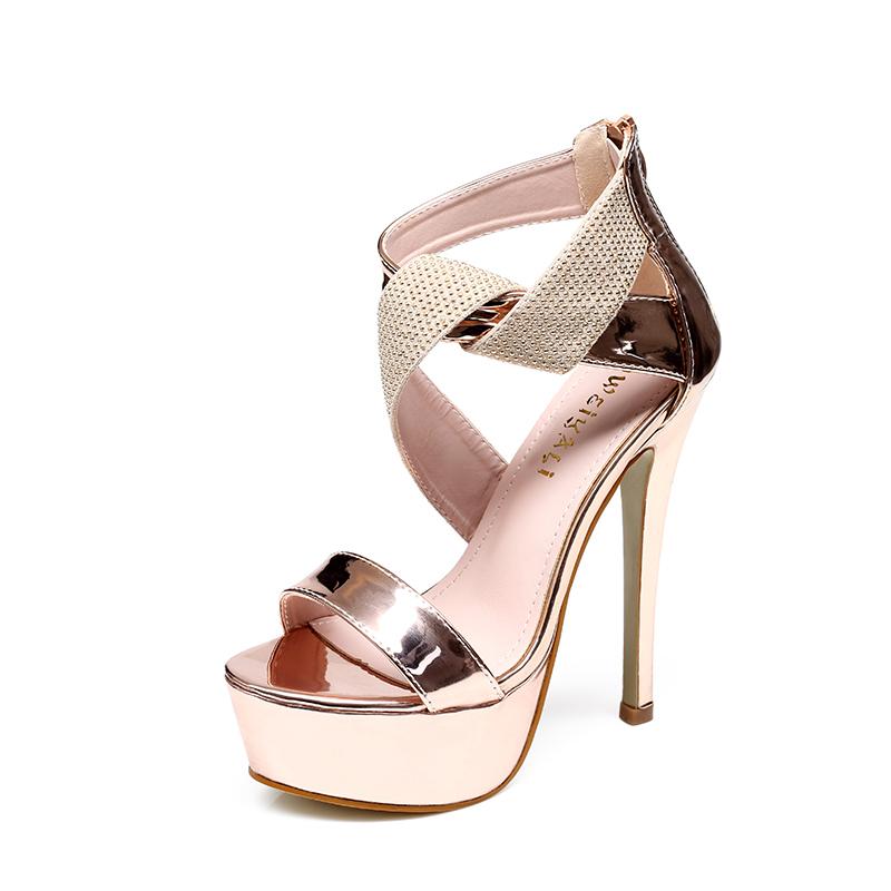Stylish Patchwork Patent Leather Platform Sandals