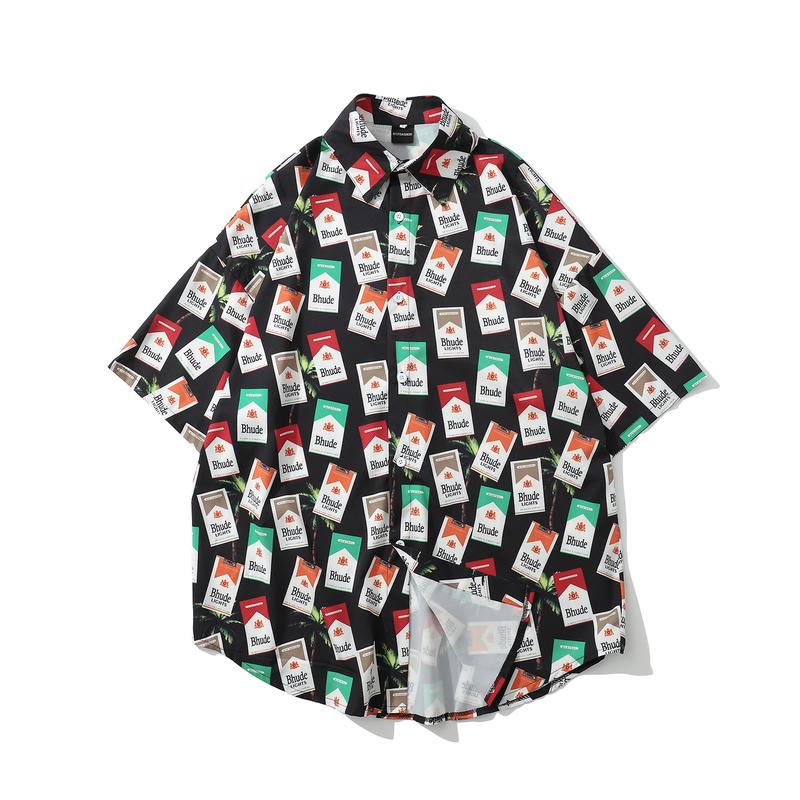 Summer Turndown Collar Printed Loose Men Shirt