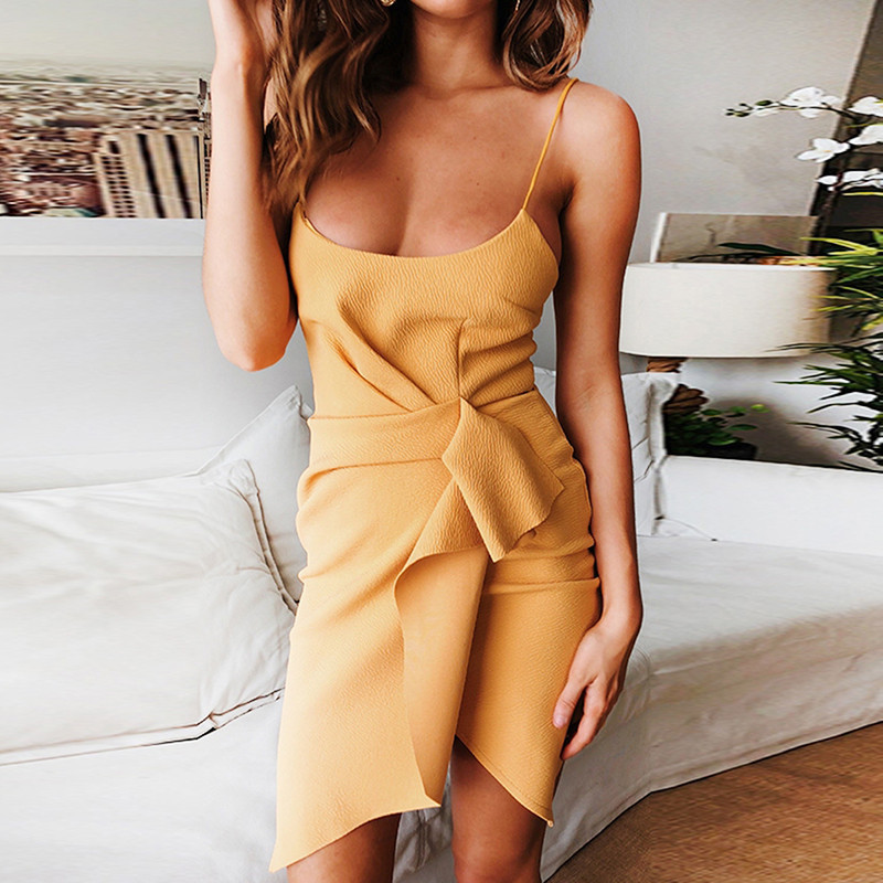 Sexy Scoop Neck Spaghetti Strap Asymmetrical Dress