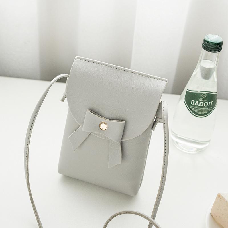 Simple Design Bow Hasp Solid Mini Crossbody Bag