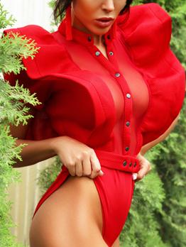 Sexy Gauze Button Ruffles Bodysuits