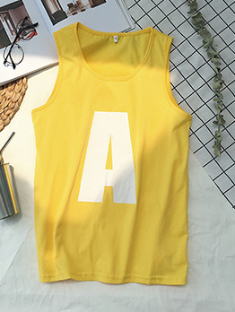 Trendy Crew Neck Letter Printed Vest For Man