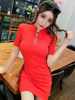 Striped Zipper Short Sleeve Bodycon Dress