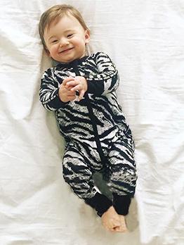 Black Leopard Printed Round Neck Baby Sleepsuits