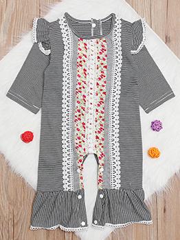 Stripe Flower Printed Ruffled Sleeve Girls Sleepsuits
