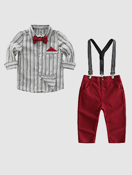Bow Striped British Style Boys 2 Piece Sets