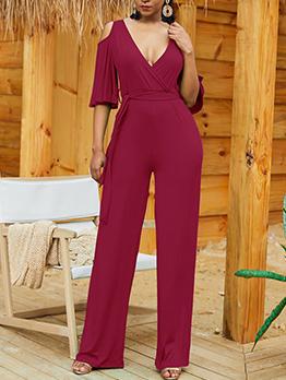 V-Neck Off Shoulder Binding Loose Wholesale Jumpsuits