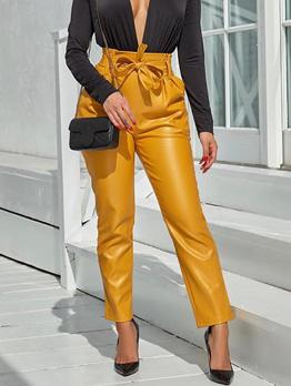 Spring Binding Bow Pockets Pu Pants