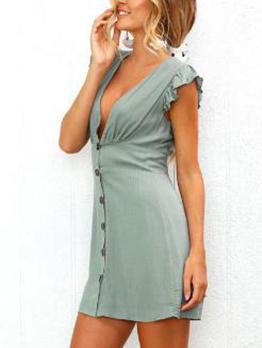 Deep V Neck Ruffled Sleeve Button Up Sexy Dress
