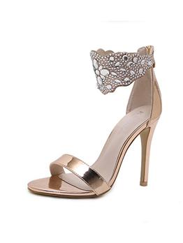 Euro Diamond Thin Heel Zipper Womens Sandals
