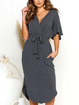 V Neck Tie-Wrap Flare Short Sleeve Dress