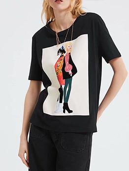 Crew Neck Black Short Sleeve T-Shirt Printing