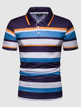 Button Up Turndown Neck Striped Polo Shirt