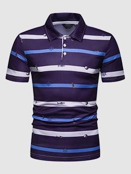 Striped Print Turndown Collar Polo Shirt For Man