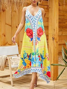 Backless Printing Loose Beach Maxi Dress