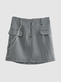 Fashionable Houndstooth Round Buckle Black Mini Skirt